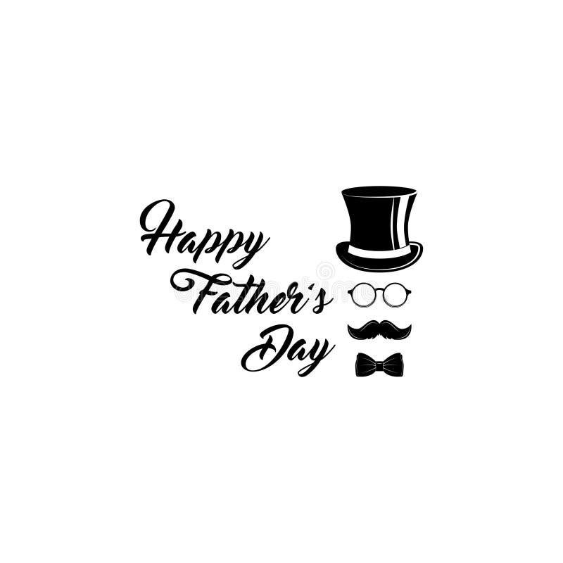 Día de padres feliz Sombrero de copa, corbata de lazo, vidrios, iconos del bigote Diseño de la tarjeta de felicitación Día de fie ilustración del vector