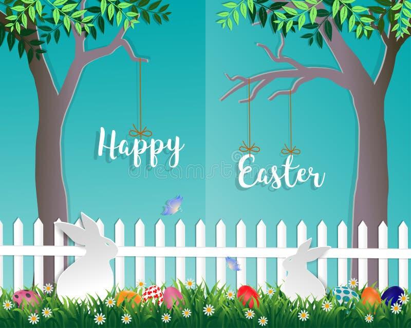 Día de Pascua con los conejos blancos, los huevos coloridos, la pequeña margarita y la mariposa en el jardín en fondo azul stock de ilustración