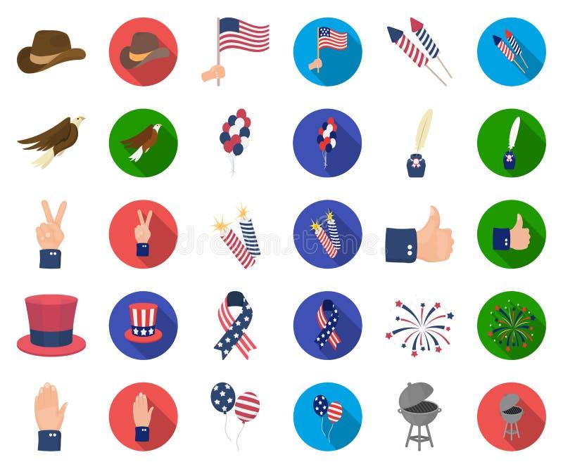 Día de patriota, historieta del día de fiesta, iconos planos en la colección determinada para el diseño Web americano de la acció ilustración del vector