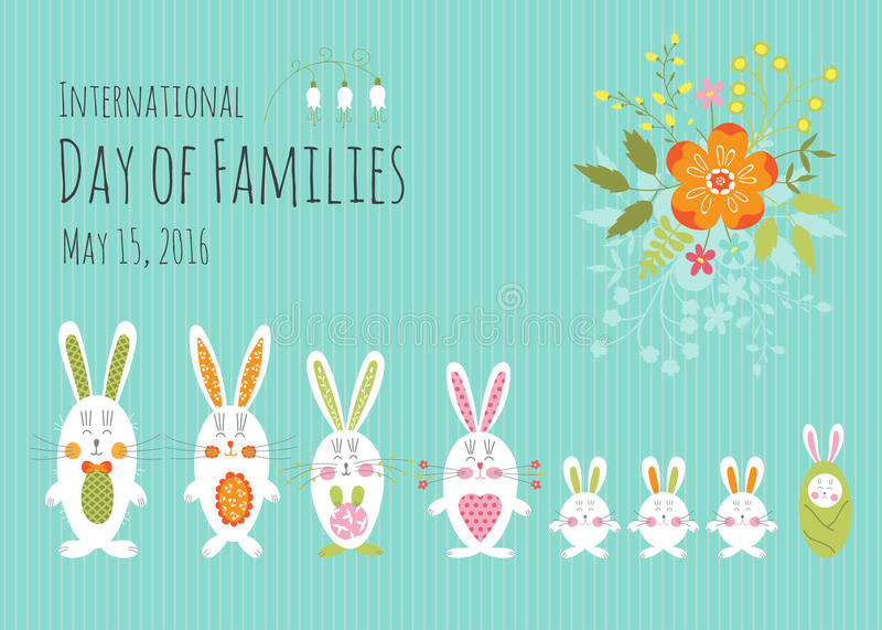 Día de plantilla de la tarjeta de las familias stock de ilustración