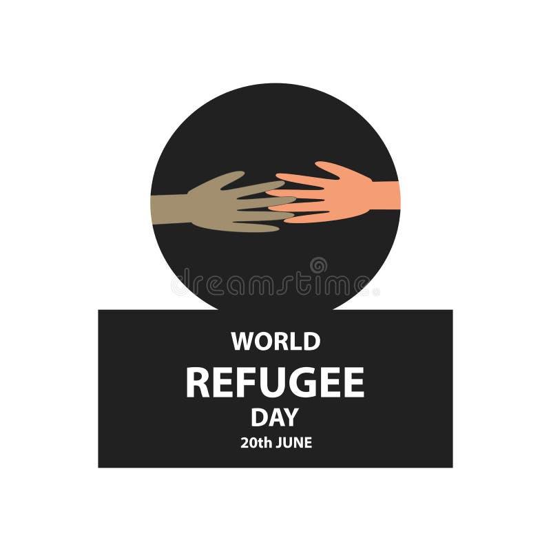 Día de refugiado de mundo 20 de junio Manos de la gente con diverso color de piel y diversas nacionalidades Ejemplo del vector en ilustración del vector