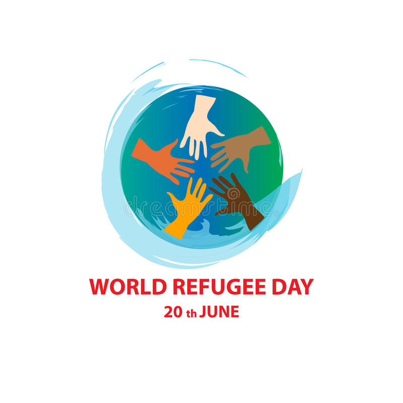 Día de refugiado de mundo el 20 de junio stock de ilustración