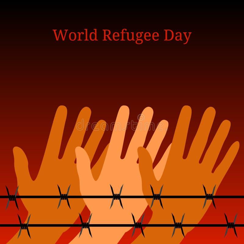 Día de refugiado de mundo Manos detrás del alambre de púas El fondo simboliza un fuego en la noche ilustración del vector