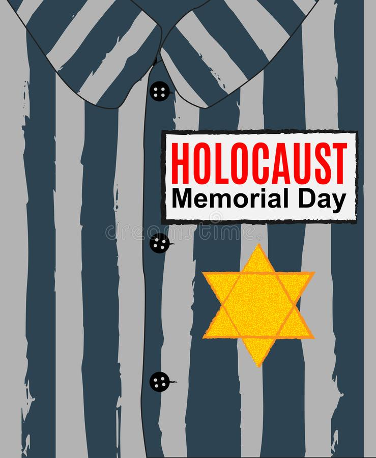 Día de RMemorial del holocausto Estrella amarilla David Día internacional de campos de concentración y de tarjeta fascistas de la libre illustration