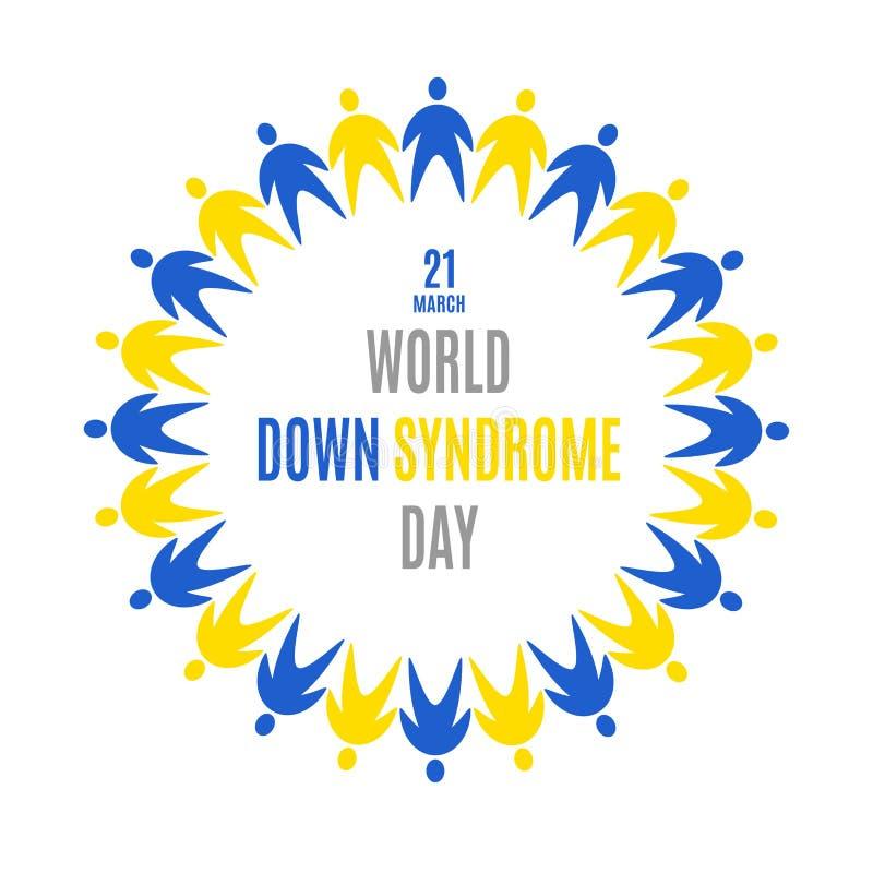 Día de Síndrome de Down del mundo emblema Marco del círculo Badge el icono usando fondo amarillo azul del blanco del symbolson de libre illustration