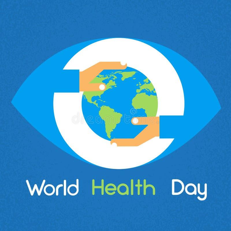 Día de salud de mundo del planeta de la tierra del globo del control de las manos stock de ilustración
