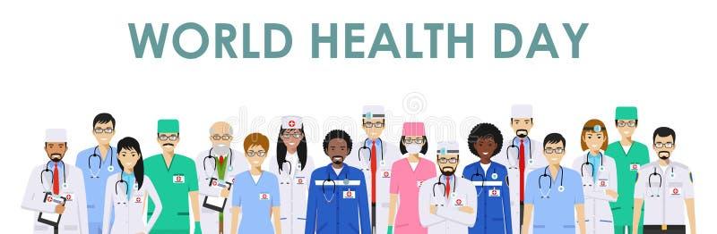 Día de salud de mundo Concepto MÉDICO Ejemplo detallado del doctor y de las enfermeras en estilo plano aislados en el fondo blanc ilustración del vector
