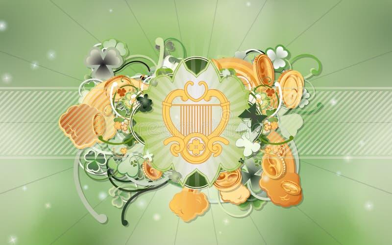 Día de San Patricio - arpa céltica ilustración del vector