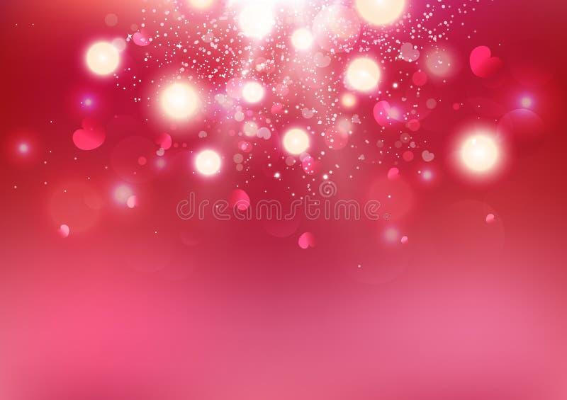 Día de San Valentín, dispersión del corazón de Bokeh, amor que estalla el contexto de lujo celebra el ejemplo abstracto del vecto ilustración del vector