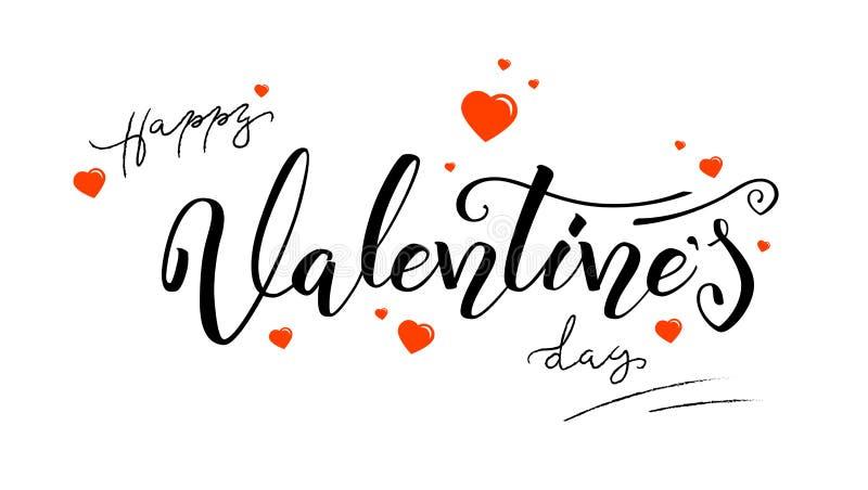 Día de San Valentín feliz, caligrafía en estilo del vintage Letras a mano de la pluma del cepillo aisladas en el fondo blanco ilustración del vector