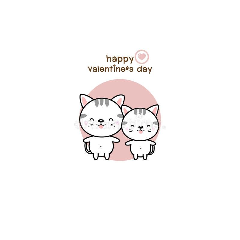 Día de San Valentín feliz con el gato del amor de los pares ilustración del vector