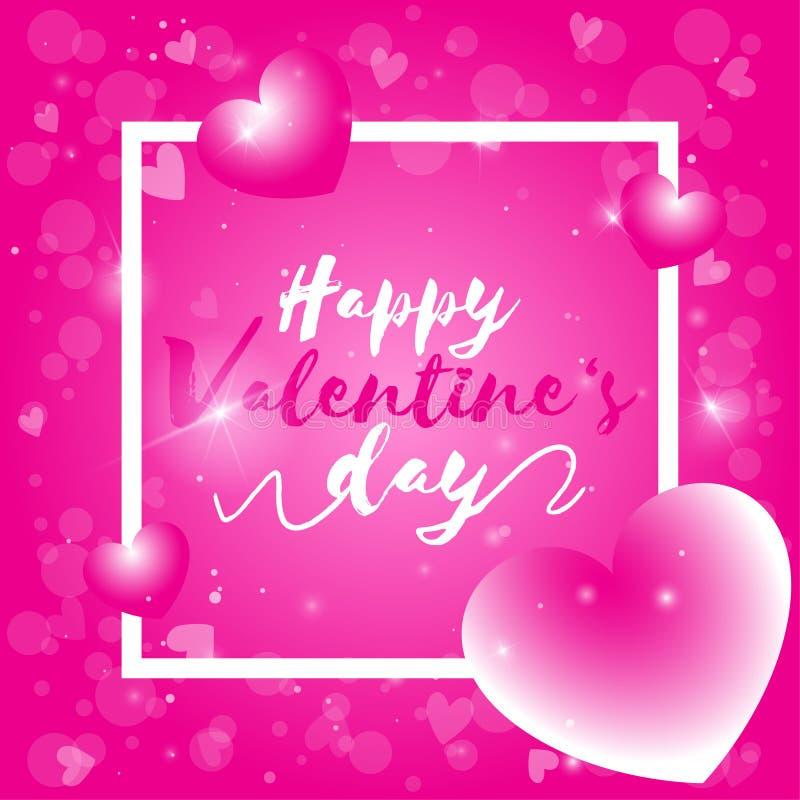 Día de San Valentín feliz, texto del día de tarjeta del día de San Valentín con el fondo rosado del bokeh stock de ilustración