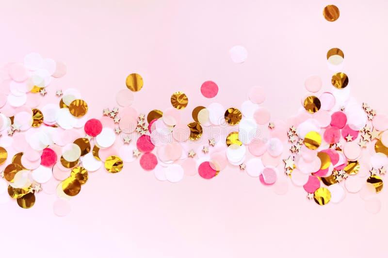 Día de San Valentín, fondo de saludo rosado del amor El plano pone con el modelo de punto colorido fotografía de archivo