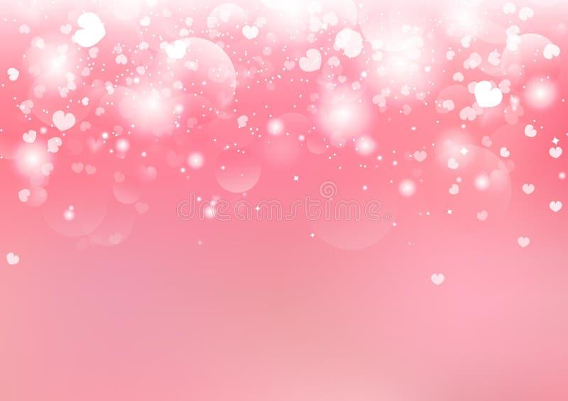 Día de San Valentín, las estrellas de Bokeh del corazón que caen borroso brilla día de fiesta estacional del centelleo del fondo  stock de ilustración
