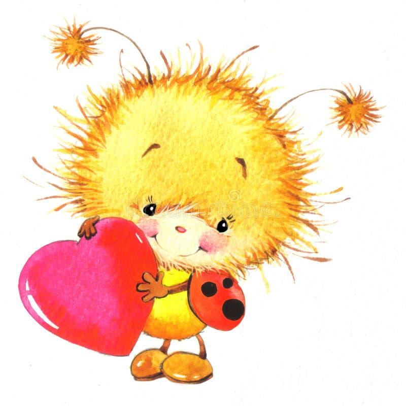 Día de San Valentín y mariquita linda, corazón rojo ilustración del vector