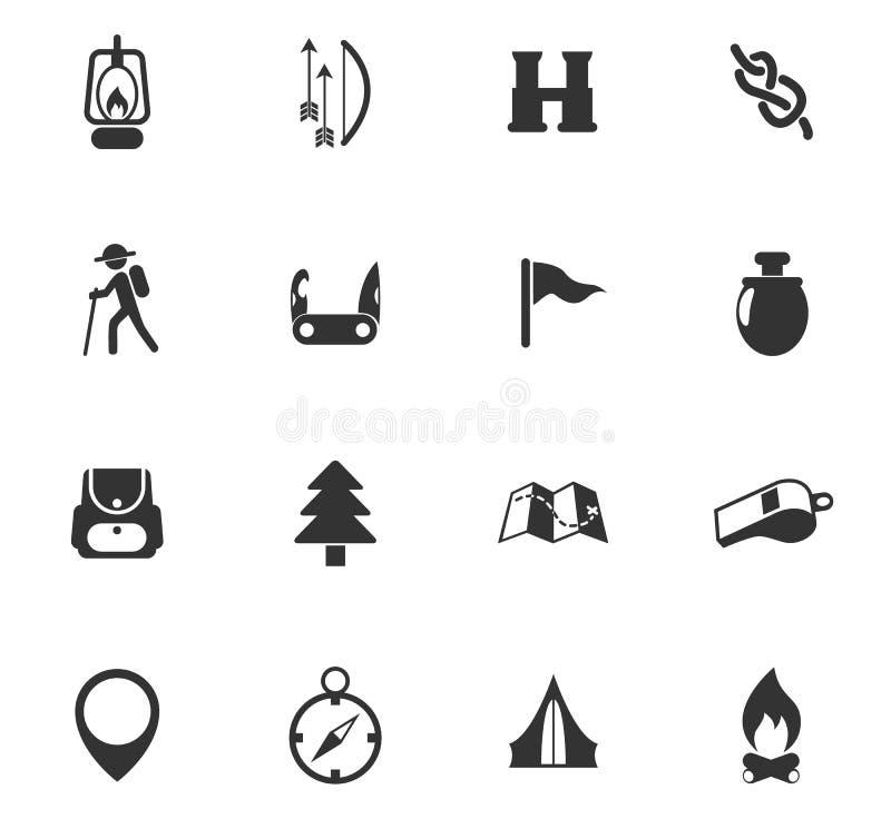día de sistema del icono de los exploradores stock de ilustración
