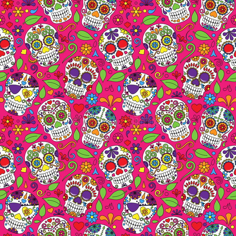 Día de Sugar Skull Seamless Vector Background muerto stock de ilustración