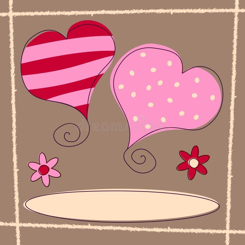 Día de tarjeta del día de San Valentín [2 retros] stock de ilustración