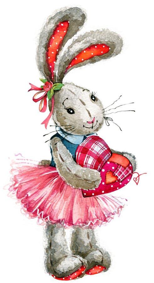Día de tarjeta del día de San Valentín amor del conejo ejemplo, acuarela, ilustración del vector