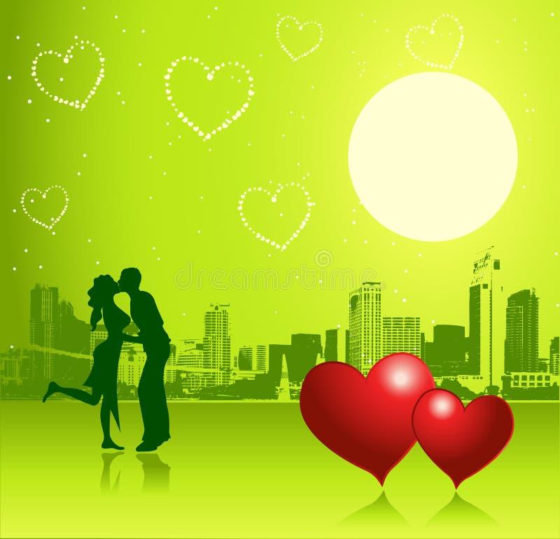 Día de tarjeta del día de San Valentín, escena urbana, par ilustración del vector