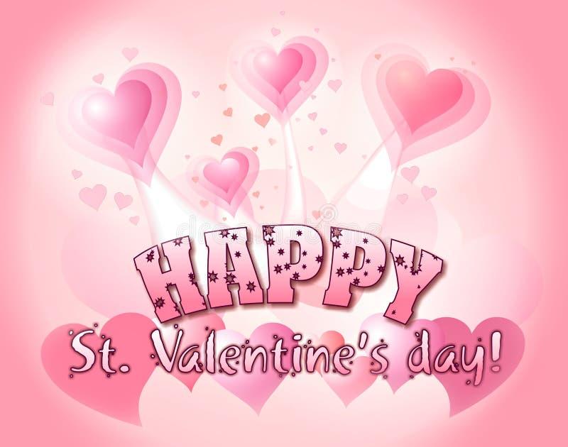 Día de tarjeta del día de San Valentín feliz stock de ilustración