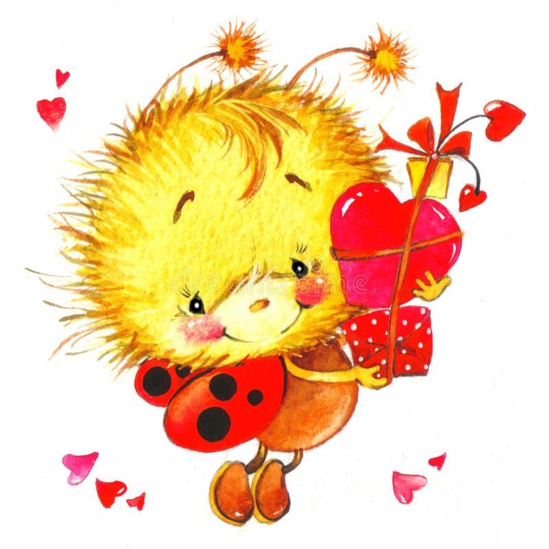 Día de tarjeta del día de San Valentín fondo para una tarjeta con una mariquita y un rojo lindos ilustración del vector