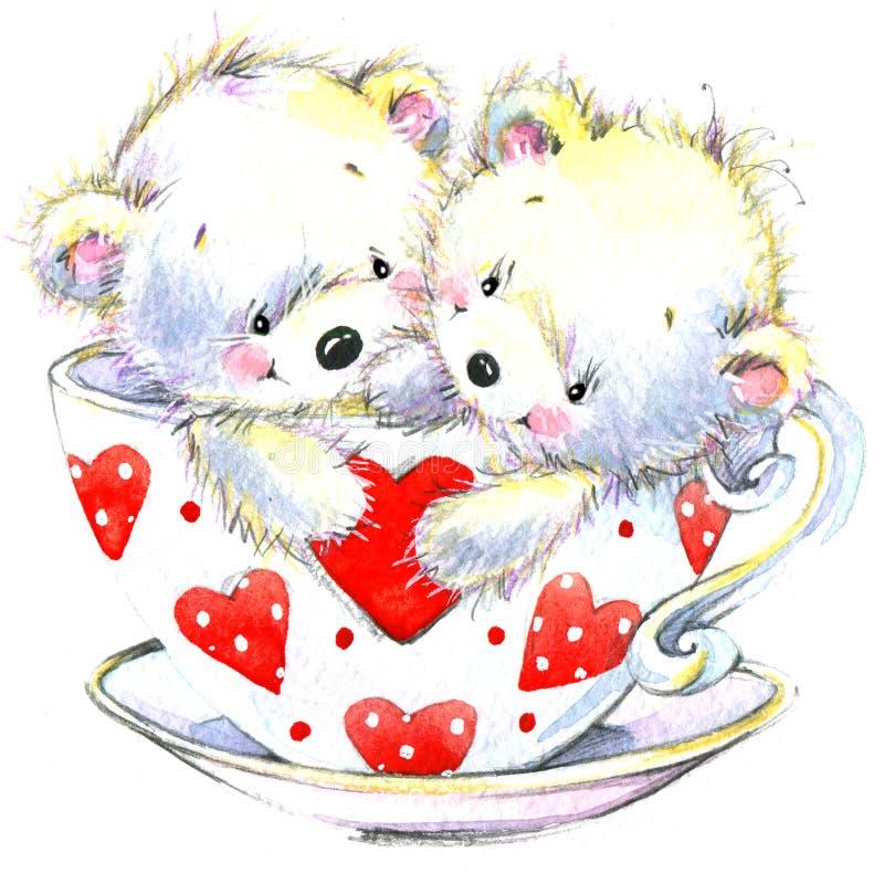 Día de tarjeta del día de San Valentín Oso blanco lindo y corazón rojo stock de ilustración