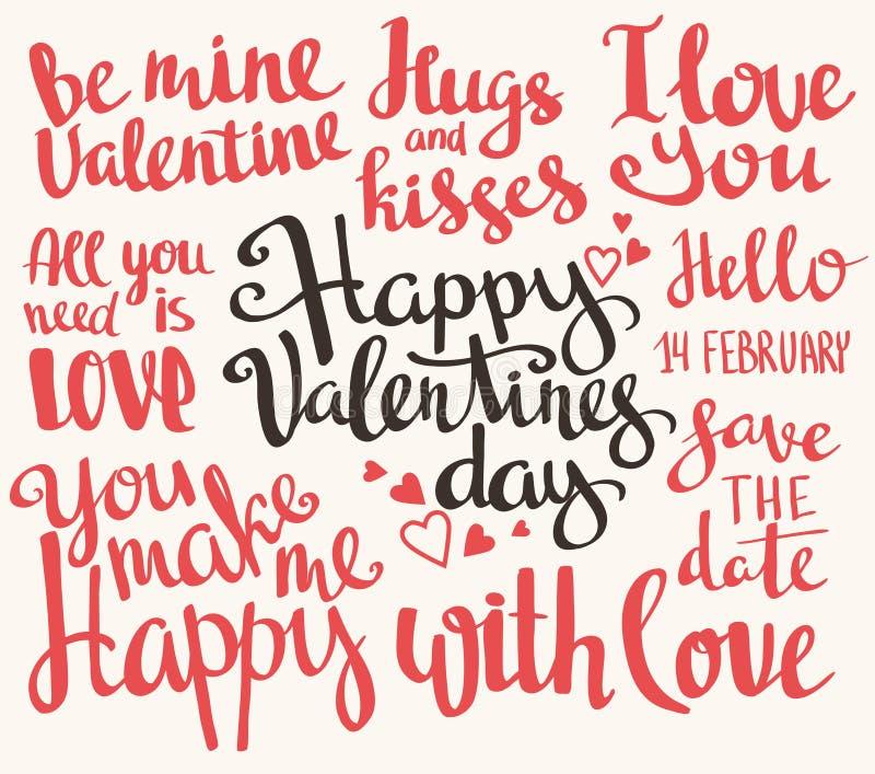 Día de tarjeta del día de San Valentín Sistema de los títulos caligráficos de moda elegantes de la tarjeta del día de San Valentí ilustración del vector