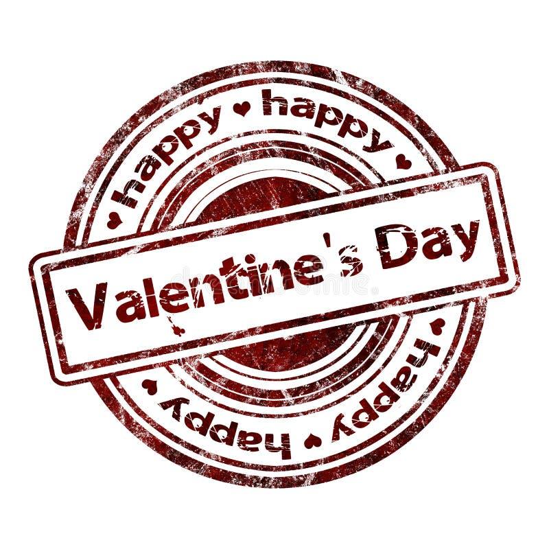 Día de tarjeta del día de San Valentín el 'feliz 'del Grunge sello de goma stock de ilustración
