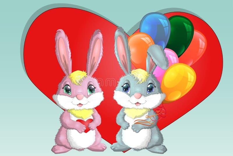 Día de tarjeta del día de San Valentín feliz Tarjeta del amor Un par de muchacha y de muchacho lindos de conejitos, rosa y profun ilustración del vector
