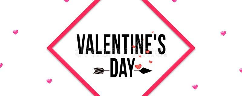 Día de tarjeta del día de San Valentín feliz Fondo rojo de los corazones Diseño para la tarjeta de felicitación del día de fiesta stock de ilustración