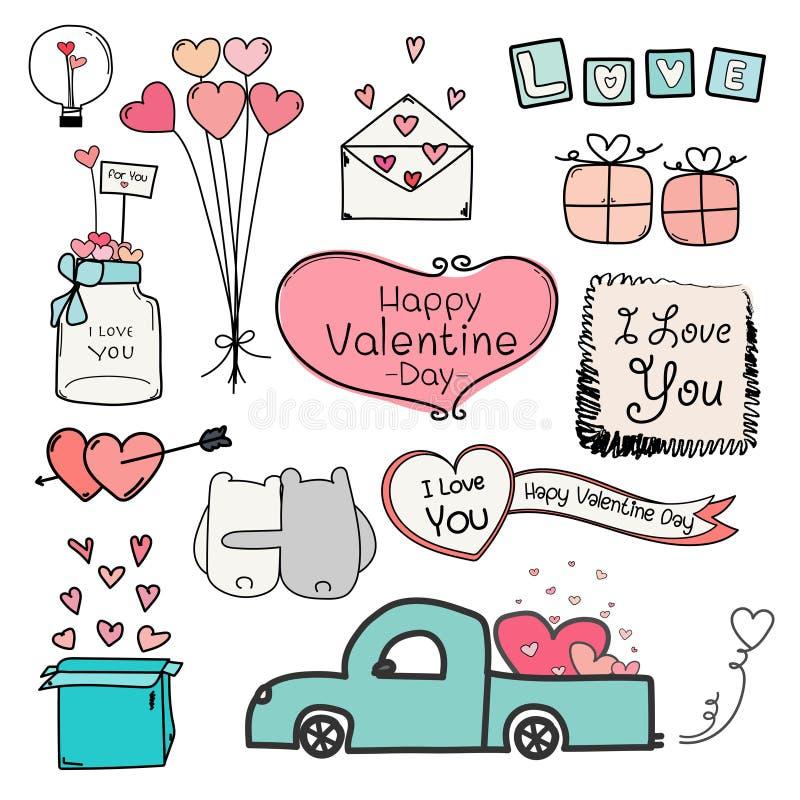Día de tarjeta del día de San Valentín feliz Sistema de los elementos de Valentine Day Labels And Typography del garabato libre illustration