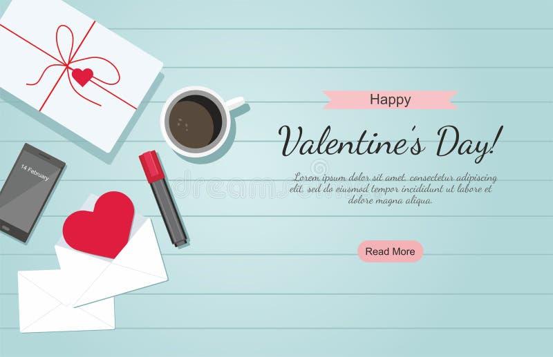 Día de tarjeta del día de San Valentín Sobre con el corazón, el café, el marcador y el regalo rojos en la tabla ilustración del vector