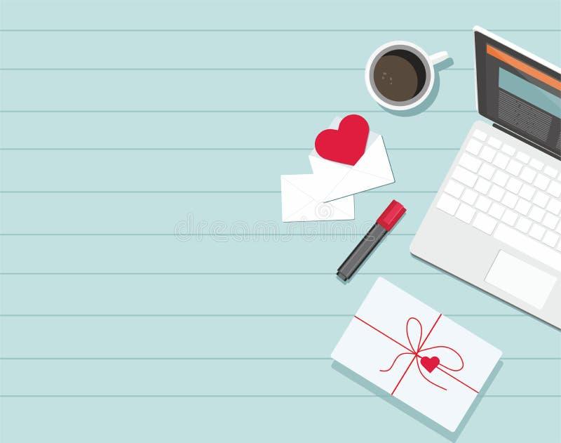 Día de tarjeta del día de San Valentín Sobre con el corazón, el café, el teléfono, el ordenador portátil y el marcador rojos en l stock de ilustración