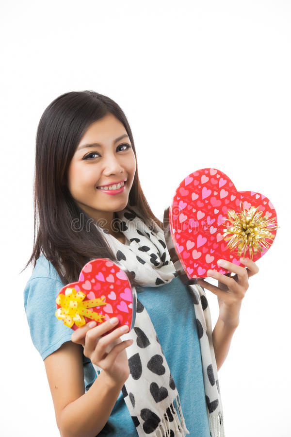 Día de tarjetas del día de San Valentín asiático de la mujer imágenes de archivo libres de regalías
