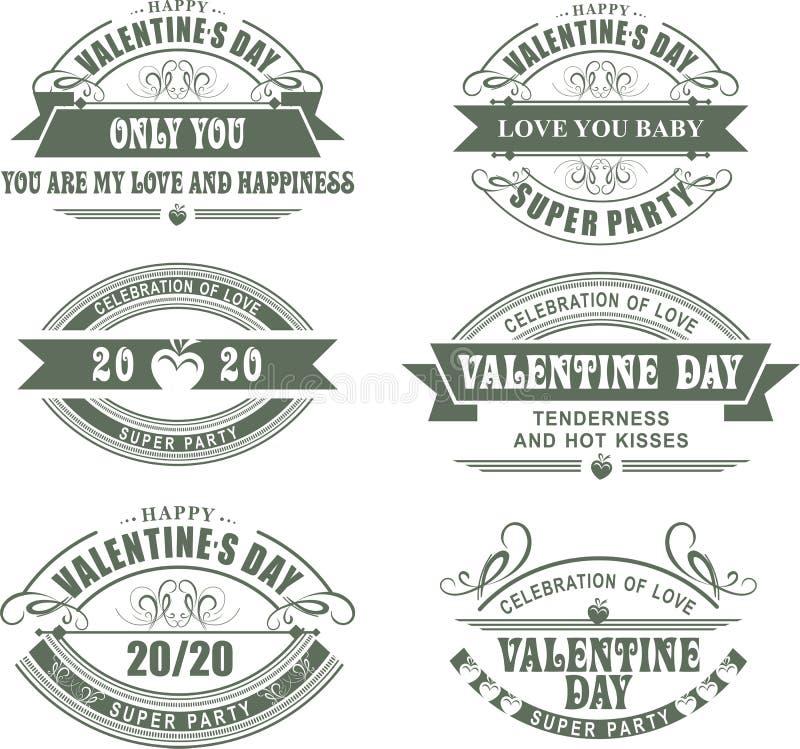 Día de tarjetas del día de San Valentín caligráfico de los elementos stock de ilustración