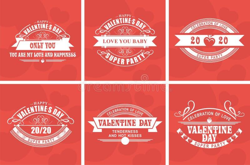 Día de tarjetas del día de San Valentín caligráfico de los elementos libre illustration