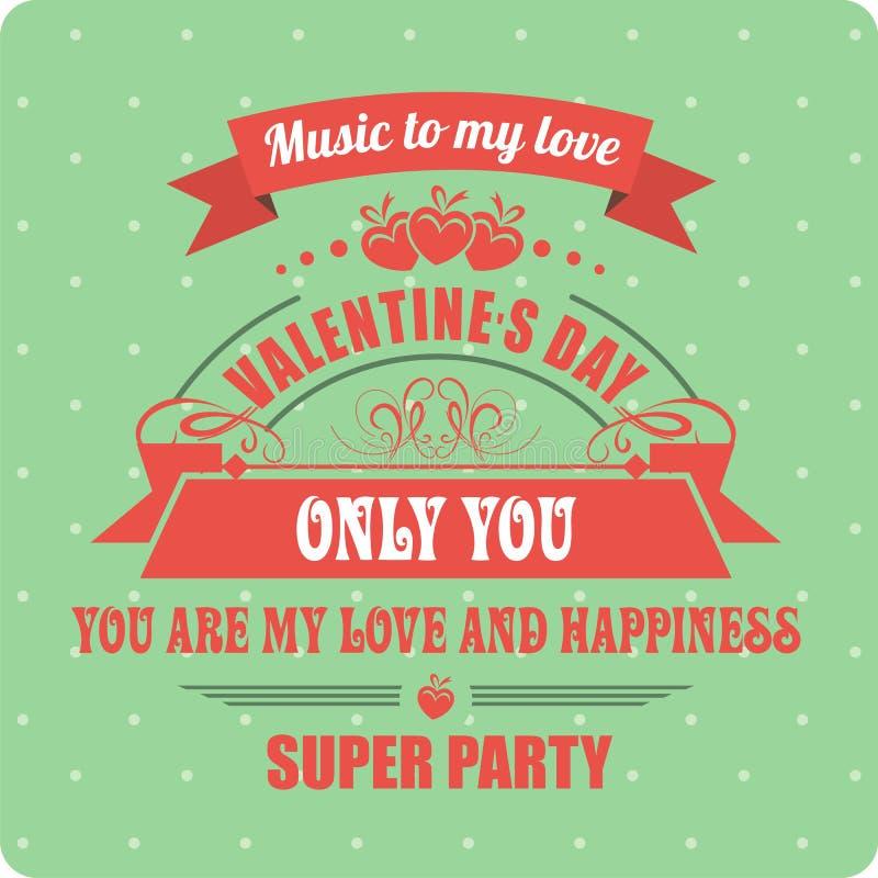 Día de tarjetas del día de San Valentín caligráfico de los elementos ilustración del vector