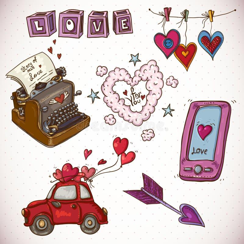 Día de tarjetas del día de San Valentín de la tarjeta del garabato con el corazón de nubes libre illustration