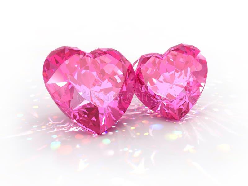 Día de tarjetas del día de San Valentín de los corazones de la joya del diamante stock de ilustración
