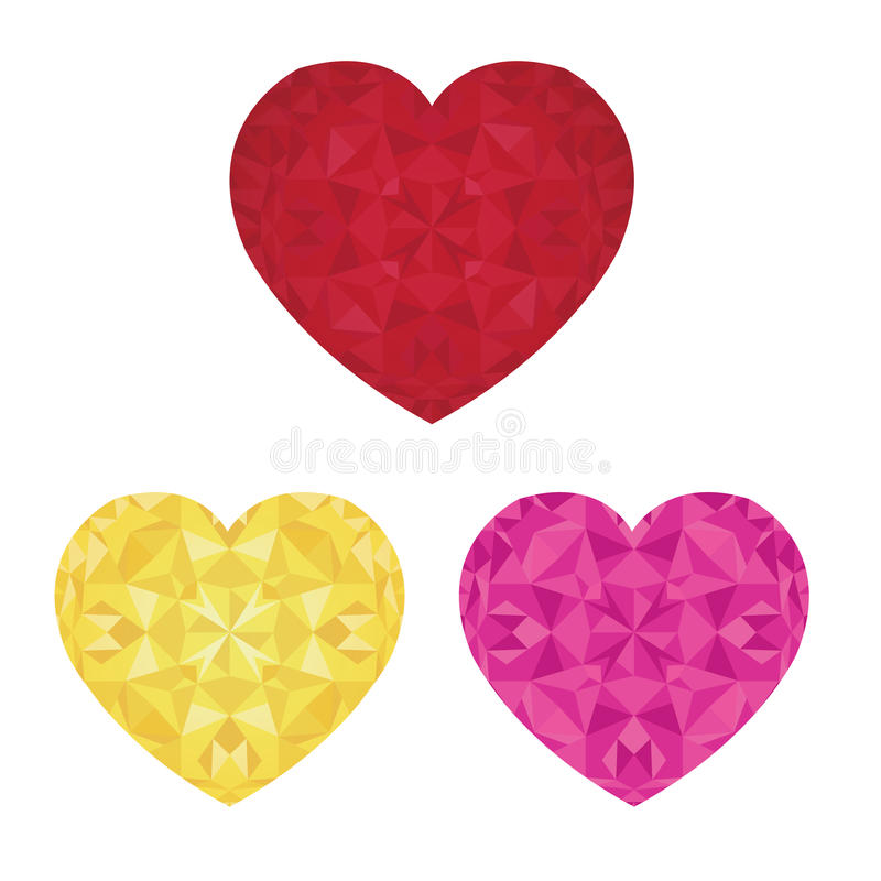Día de tarjetas del día de San Valentín del St del vector Crystal Pink Red y corazones de oro del sistema del amor Perfeccione pa ilustración del vector