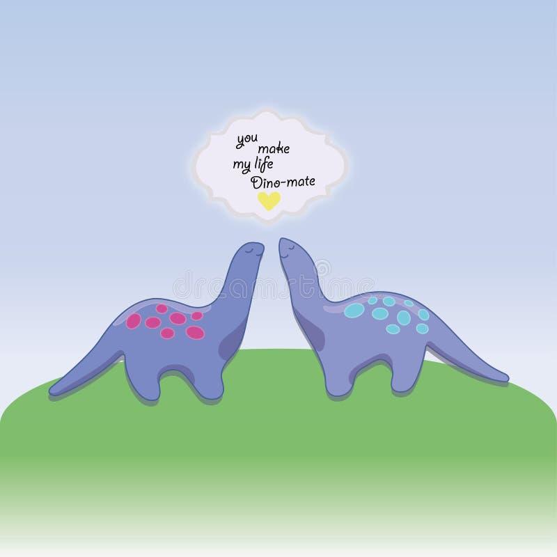 Día de tarjetas del día de San Valentín Dinos Couple en amor libre illustration