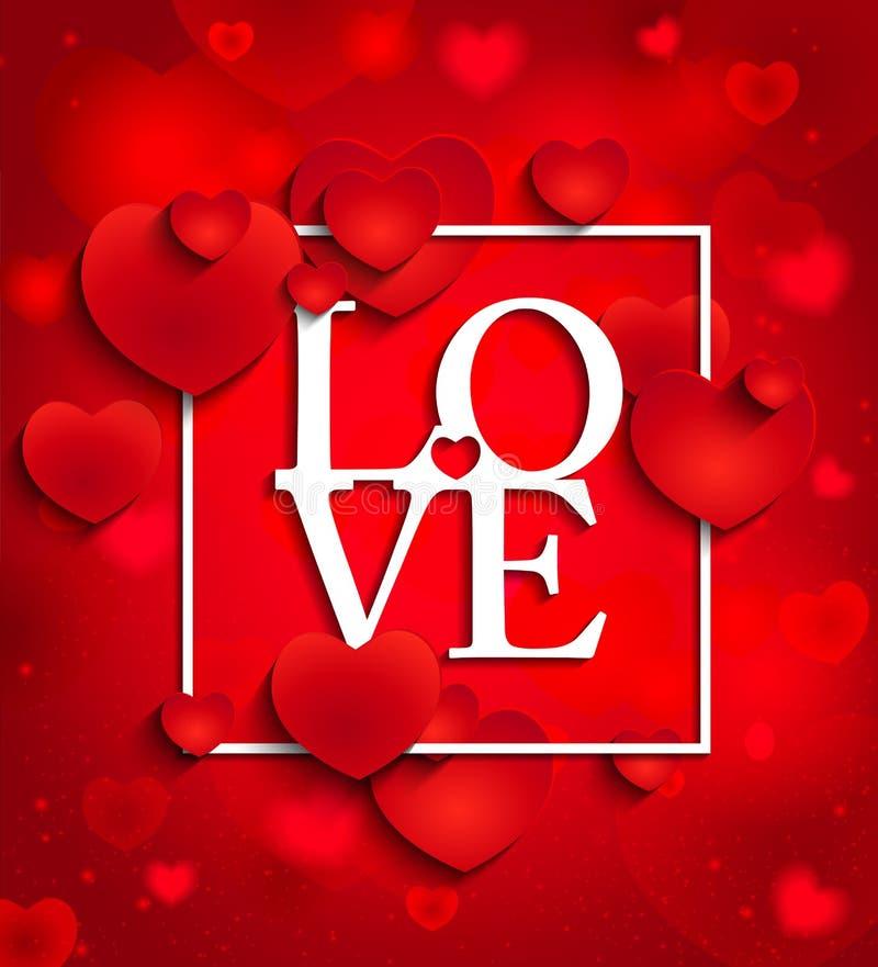Día de tarjetas del día de San Valentín feliz en fondo rojo con los corazones ilustración del vector