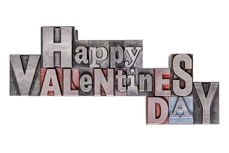 Día de tarjetas del día de San Valentín feliz en la vieja prensa de copiar del metal aislada en blanco fotografía de archivo