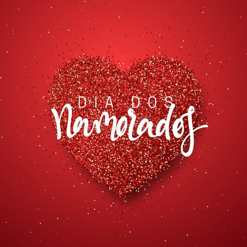 Día de tarjetas del día de San Valentín feliz poniendo letras a la inscripción francesa hecha a mano ilustración del vector