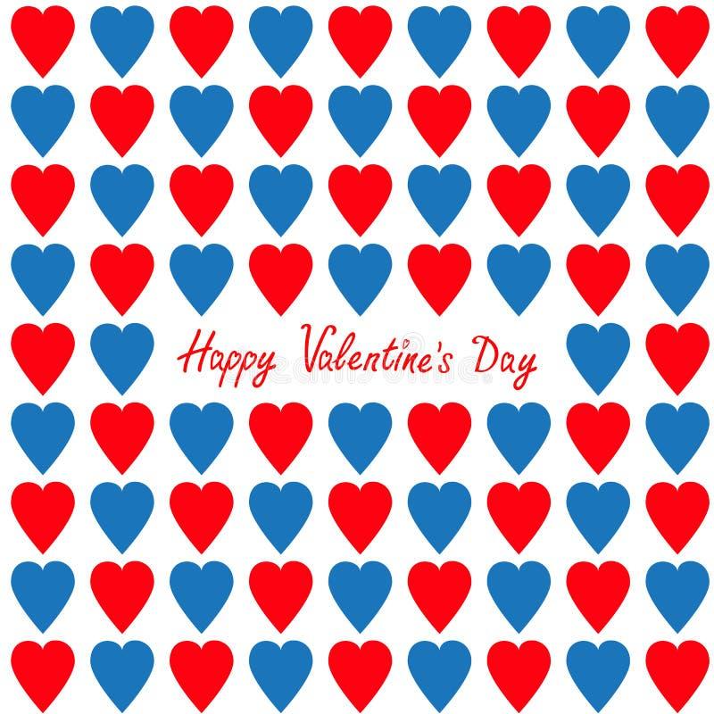 Día de tarjetas del día de San Valentín feliz Tarjeta de felicitación Modelo inconsútil determinado del corazón rojo y azul Papel ilustración del vector
