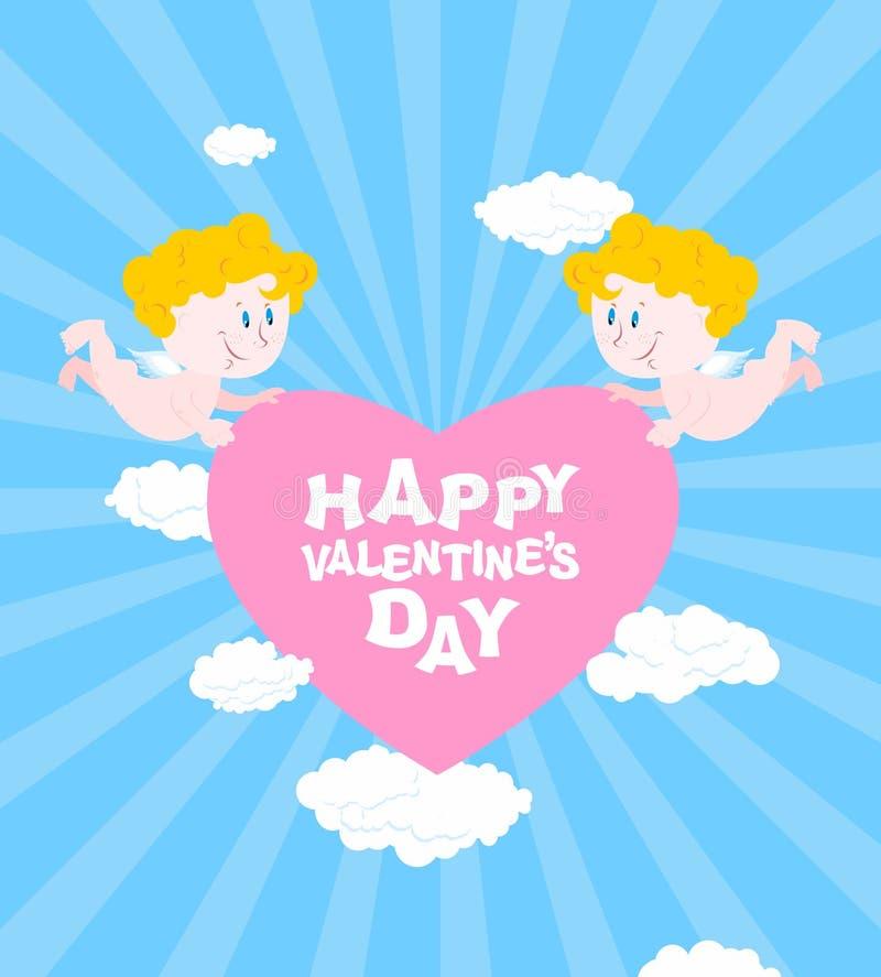 Día de tarjetas del día de San Valentín feliz Tarjeta de felicitación para el día de tarjetas del día de San Valentín libre illustration