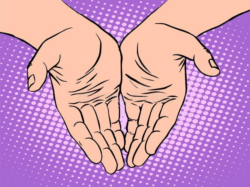 Día de tarjetas del día de San Valentín masculino del corazón de la forma de la palma libre illustration