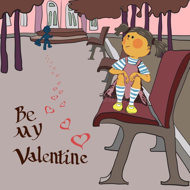 Día de tarjetas del día de San Valentín, muchacha en el parque libre illustration
