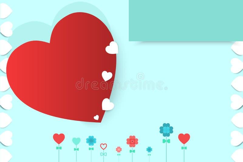 Día de tarjetas del día de San Valentín con el ejemplo rojo y blanco del corazón del modelo del fondo del vector Para usted escri stock de ilustración